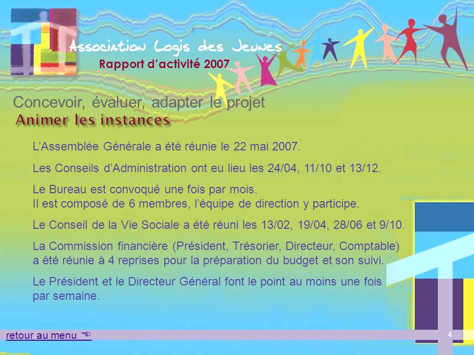 Rapport dactivité 2007 Lanalyse des pratiques pédagogiques Concevoir, évaluer, adapter le projet Mobiliser les équipes 15 retour au menu Une régulation de léquipe socio-éducative se tient pendant 2 heures une fois par mois depuis septembre 2007.