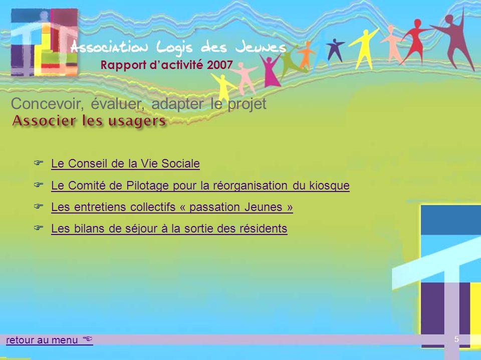 Rapport dactivité 2007 Le Conseil de la vie sociale Associer les usagers retour au menu Concevoir, évaluer, adapter le projet Objectifs : temps dexpression, déchanges et de dialogue.