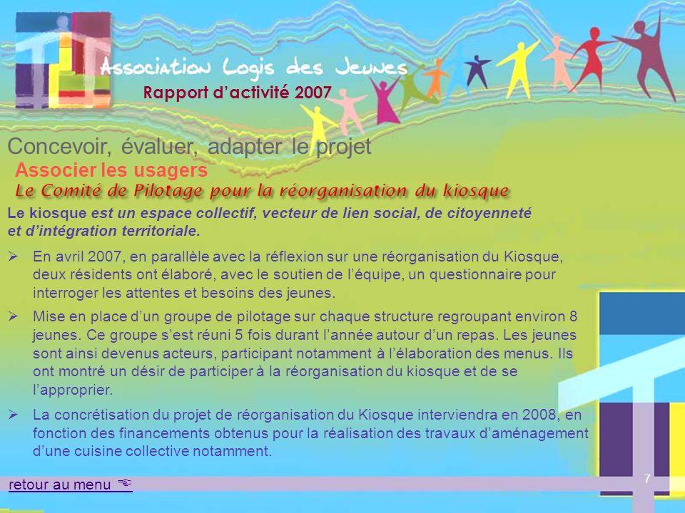 Rapport dactivité 2007 Mettre en oeuvre le projet Loger La gamme de logement Lassociation dispose de 4 structures différentes les unes des autres.