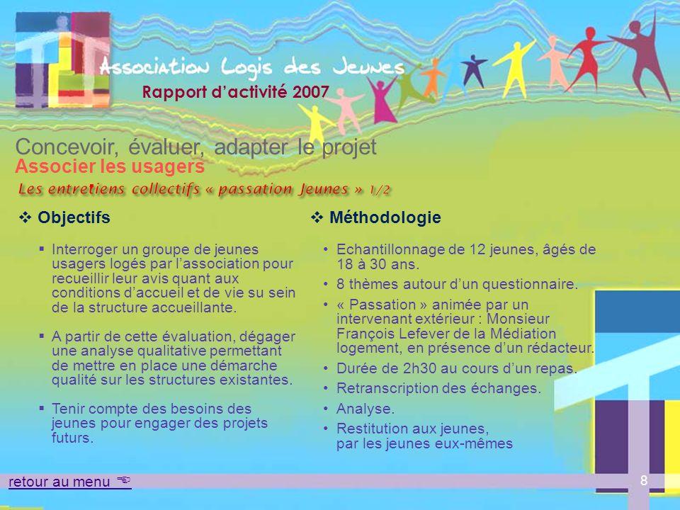 Rapport dactivité 2007 Accueillir Loger Accompagner Mettre en commun des moyens – mutualiser les compétences retour au menu 29