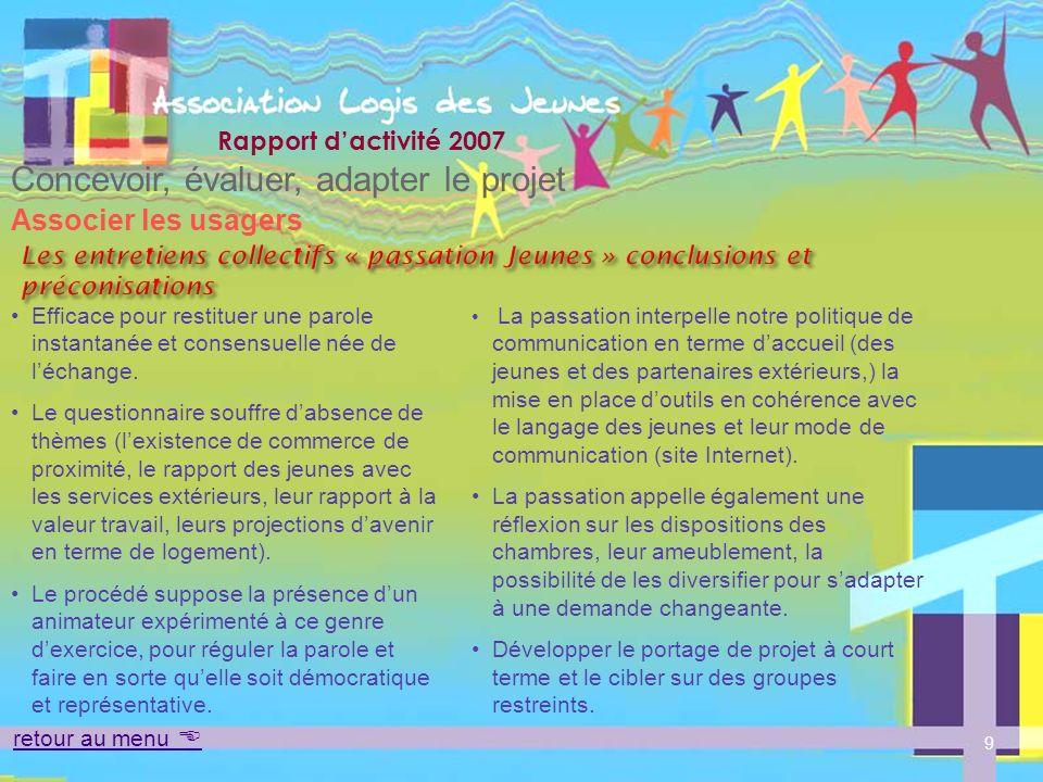Rapport dactivité 2007 Accompagner retour au menu Mettre en oeuvre le projet En 2006, 70 jeunes ont bénéficié dun accompagnement personnalisé adapté à leurs difficultés.