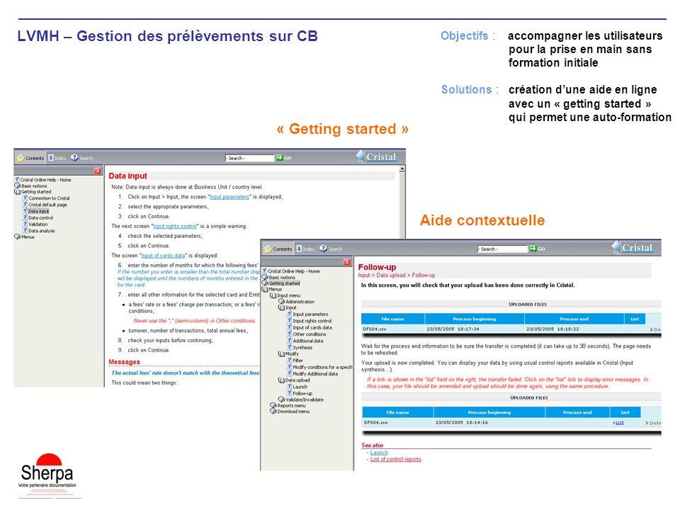 LVMH – Gestion des prélèvements sur CB Aide contextuelle Objectifs : accompagner les utilisateurs pour la prise en main sans formation initiale Soluti