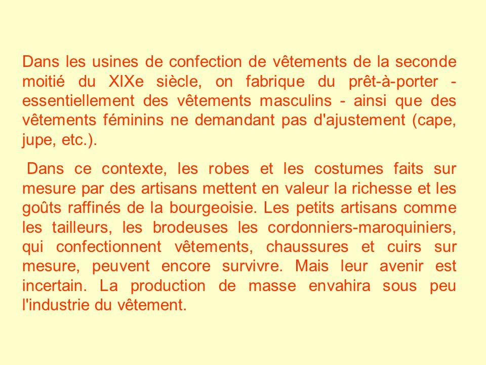 Dans les usines de confection de vêtements de la seconde moitié du XIXe siècle, on fabrique du prêt-à-porter - essentiellement des vêtements masculins