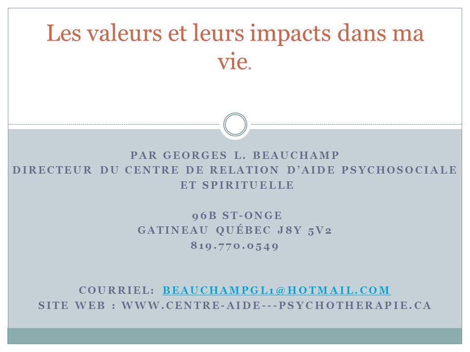 Les valeurs selon Schwartz Georges L.