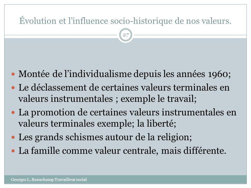 Évolution et linfluence socio-historique de nos valeurs. Georges L. Beauchamp Travailleur social 27 Montée de lindividualisme depuis les années 1960;