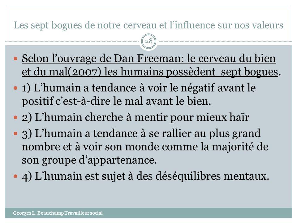 Les sept bogues de notre cerveau et linfluence sur nos valeurs Georges L. Beauchamp Travailleur social 28 Selon louvrage de Dan Freeman: le cerveau du