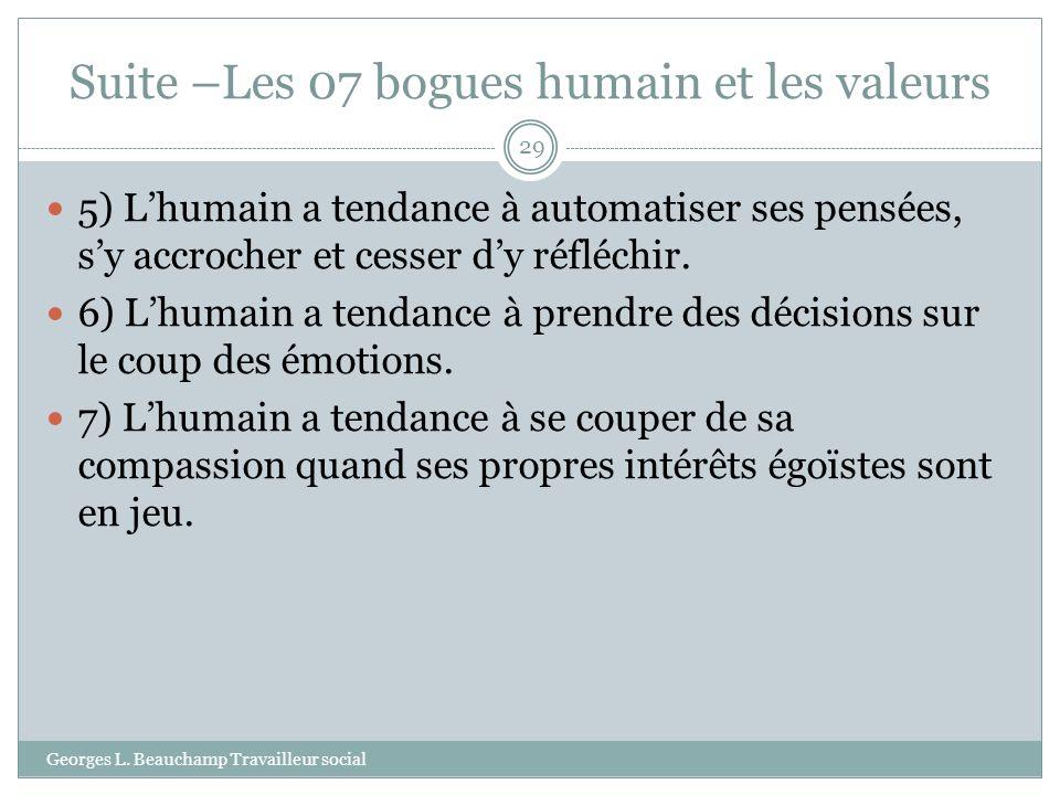 Suite –Les 07 bogues humain et les valeurs Georges L. Beauchamp Travailleur social 29 5) Lhumain a tendance à automatiser ses pensées, sy accrocher et