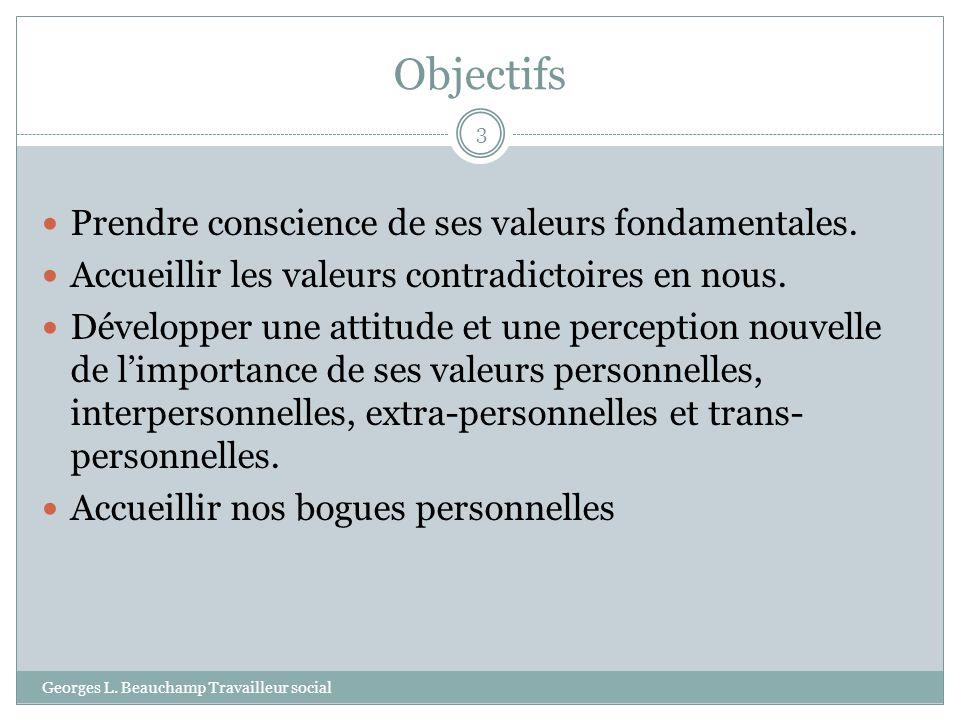 Objectifs Georges L. Beauchamp Travailleur social 3 Prendre conscience de ses valeurs fondamentales. Accueillir les valeurs contradictoires en nous. D