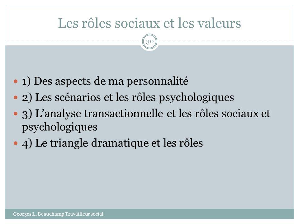 Les rôles sociaux et les valeurs Georges L. Beauchamp Travailleur social 30 1) Des aspects de ma personnalité 2) Les scénarios et les rôles psychologi