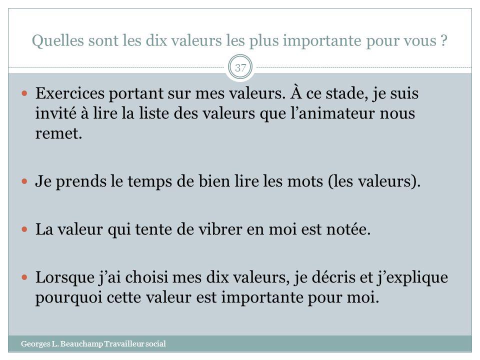 Quelles sont les dix valeurs les plus importante pour vous ? Georges L. Beauchamp Travailleur social 37 Exercices portant sur mes valeurs. À ce stade,