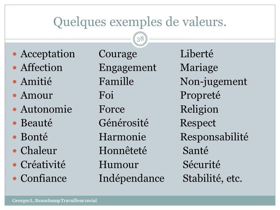 Quelques exemples de valeurs. Georges L. Beauchamp Travailleur social 38 Acceptation CourageLiberté Affection EngagementMariage Amitié FamilleNon-juge