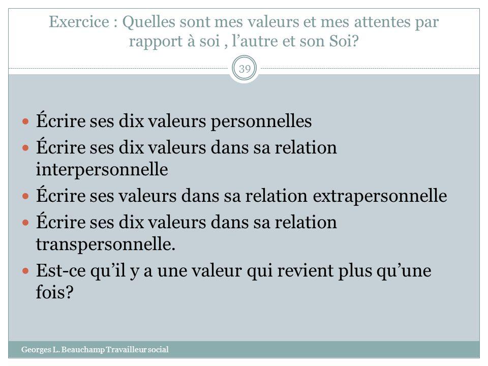 Exercice : Quelles sont mes valeurs et mes attentes par rapport à soi, lautre et son Soi? Georges L. Beauchamp Travailleur social 39 Écrire ses dix va