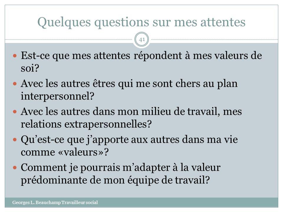 Quelques questions sur mes attentes Georges L. Beauchamp Travailleur social 41 Est-ce que mes attentes répondent à mes valeurs de soi? Avec les autres