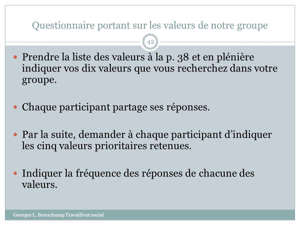 Questionnaire portant sur les valeurs de notre groupe Georges L. Beauchamp Travailleur social 42 Prendre la liste des valeurs à la p. 38 et en plénièr