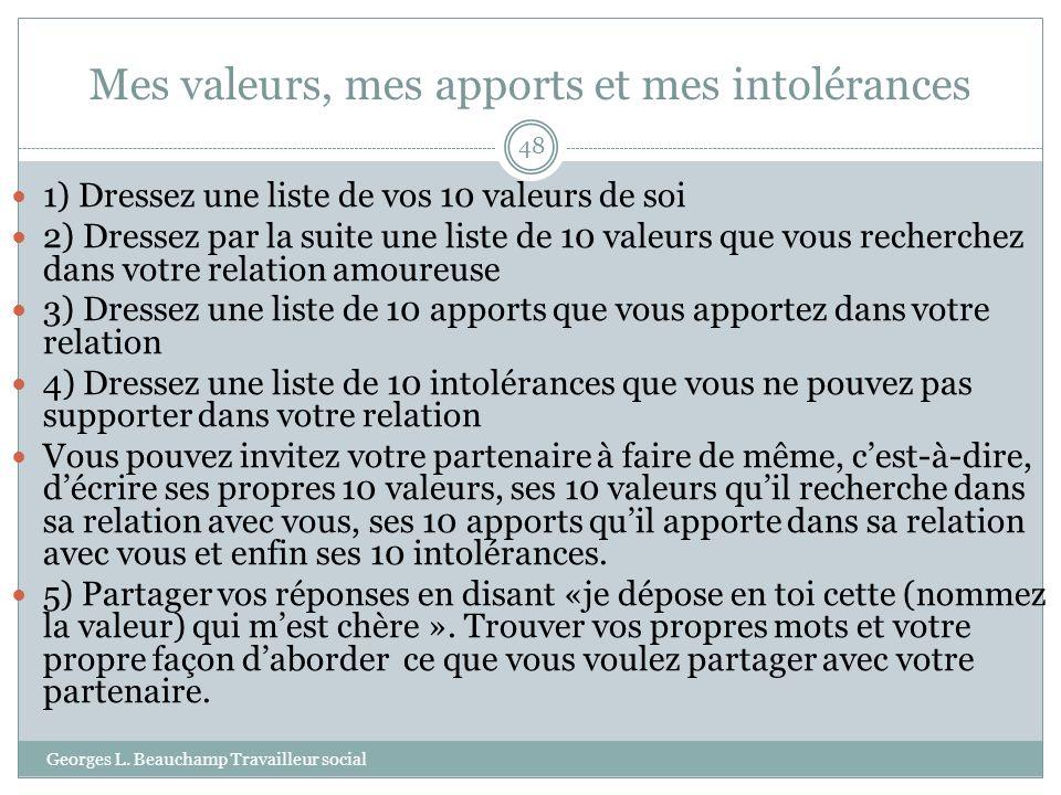 Mes valeurs, mes apports et mes intolérances Georges L. Beauchamp Travailleur social 48 1) Dressez une liste de vos 10 valeurs de soi 2) Dressez par l