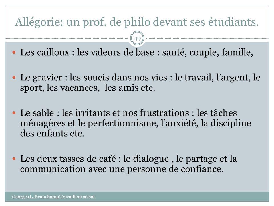 Allégorie: un prof. de philo devant ses étudiants. Georges L. Beauchamp Travailleur social 49 Les cailloux : les valeurs de base : santé, couple, fami
