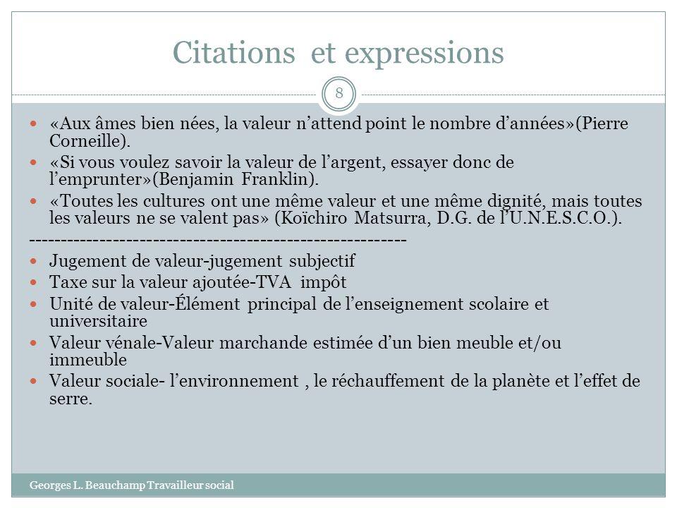Exemples de types de valeurs Georges L.