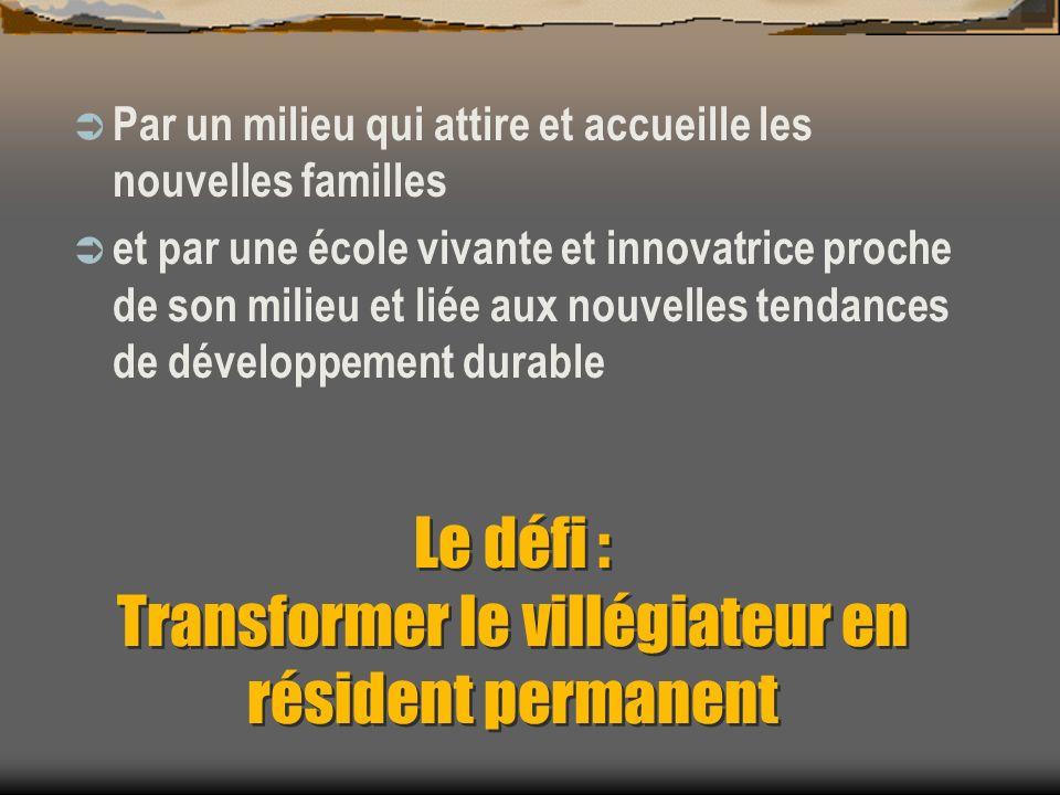 Le défi : Transformer le villégiateur en résident permanent Par un milieu qui attire et accueille les nouvelles familles et par une école vivante et innovatrice proche de son milieu et liée aux nouvelles tendances de développement durable