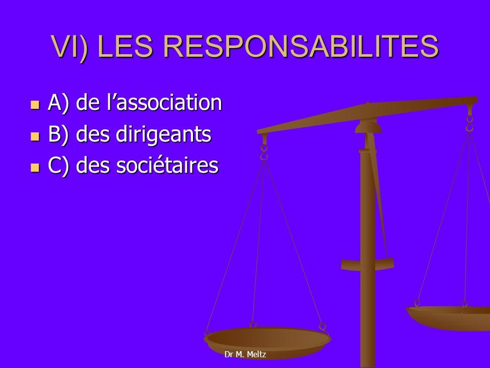 VI) LES RESPONSABILITES (suite) B) des dirigeants 1) qui sont-ils.