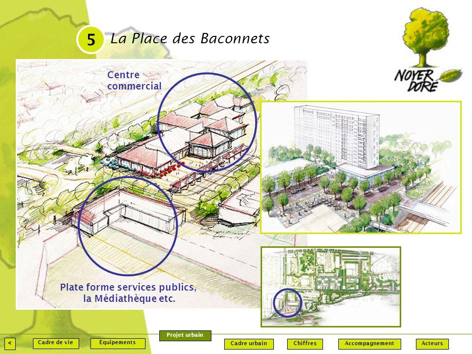 La Place des Baconnets 5 < Accompagnement Équipements Chiffres ActeursCadre urbain Cadre de vie Projet urbain Centre commercial Plate forme services publics, la Médiathèque etc.