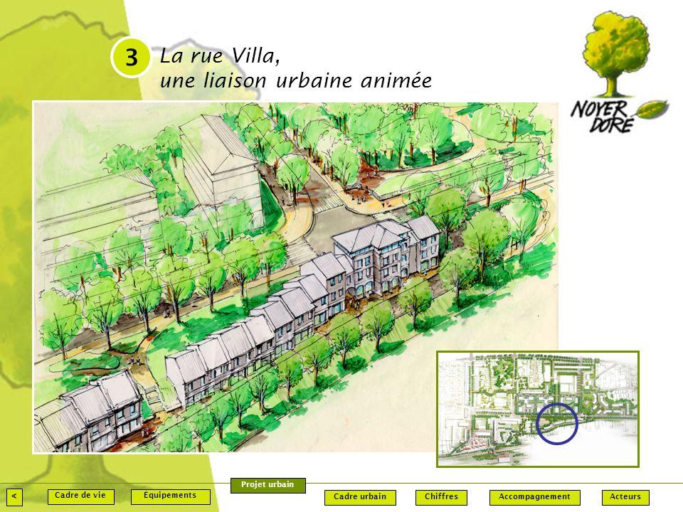 La rue Villa, une liaison urbaine animée 3 < Accompagnement Équipements Chiffres ActeursCadre urbain Cadre de vie Projet urbain