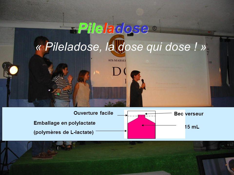 Emballage en polylactate (polymères de L-lactate) 15 mL Ouverture facile Bec verseur « Pileladose, la dose qui dose ! » Pileladose Pileladose ®