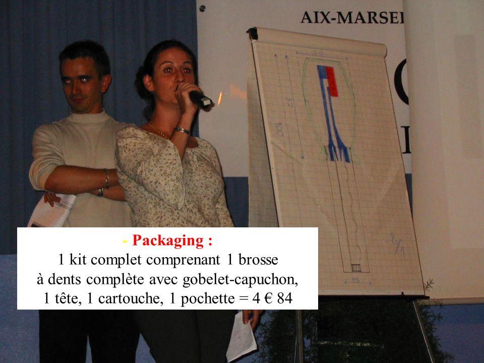 - Packaging : 1 kit complet comprenant 1 brosse à dents complète avec gobelet-capuchon, 1 tête, 1 cartouche, 1 pochette = 4 84