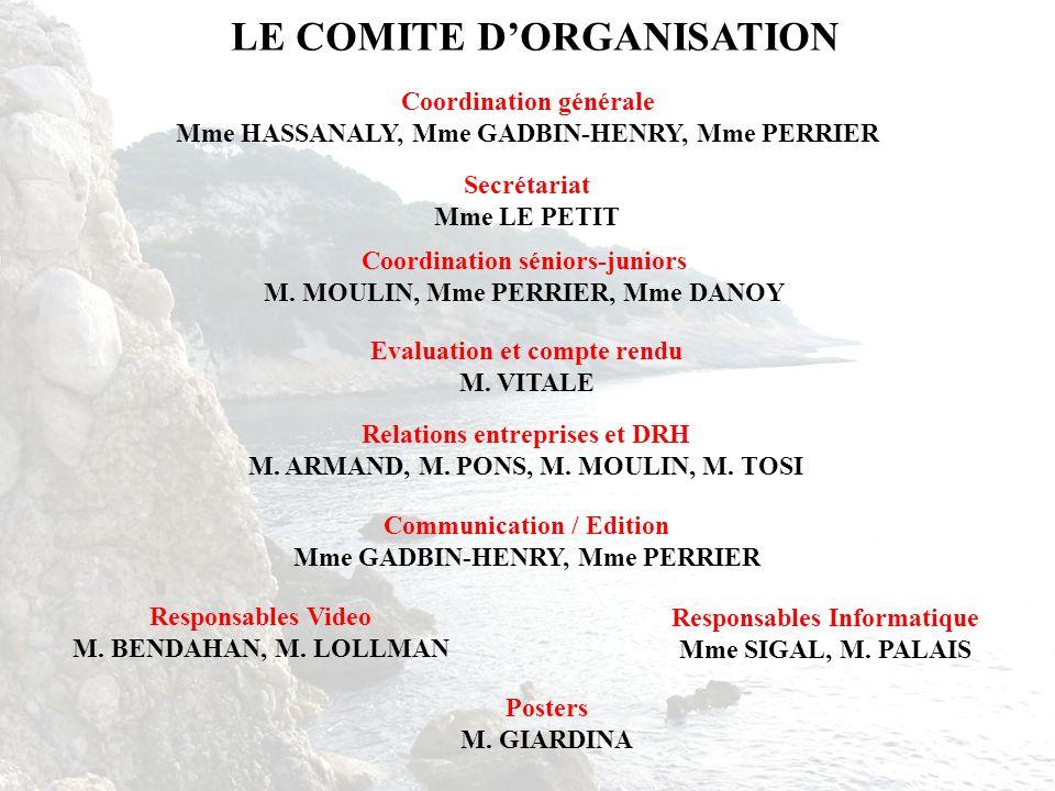 LE COMITE DORGANISATION Coordination générale Mme HASSANALY, Mme GADBIN-HENRY, Mme PERRIER Coordination séniors-juniors M. MOULIN, Mme PERRIER, Mme DA