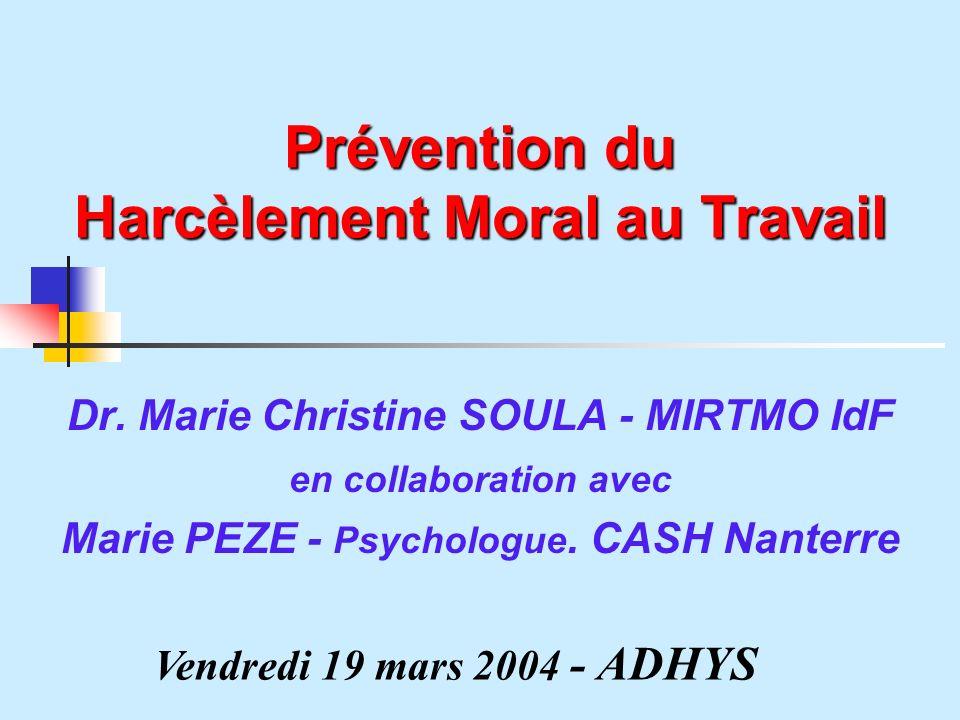Prévention du Harcèlement Moral au Travail Dr.