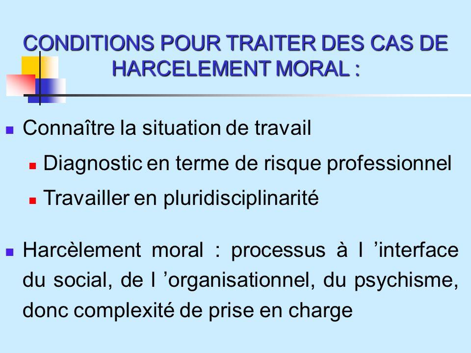CONDITIONS POUR TRAITER DES CAS DE HARCELEMENT MORAL : Connaître la situation de travail Diagnostic en terme de risque professionnel Travailler en pluridisciplinarité Harcèlement moral : processus à l interface du social, de l organisationnel, du psychisme, donc complexité de prise en charge