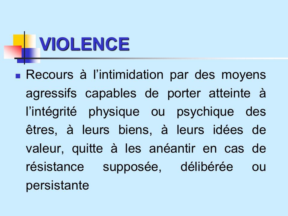 VIOLENCE Recours à lintimidation par des moyens agressifs capables de porter atteinte à lintégrité physique ou psychique des êtres, à leurs biens, à leurs idées de valeur, quitte à les anéantir en cas de résistance supposée, délibérée ou persistante