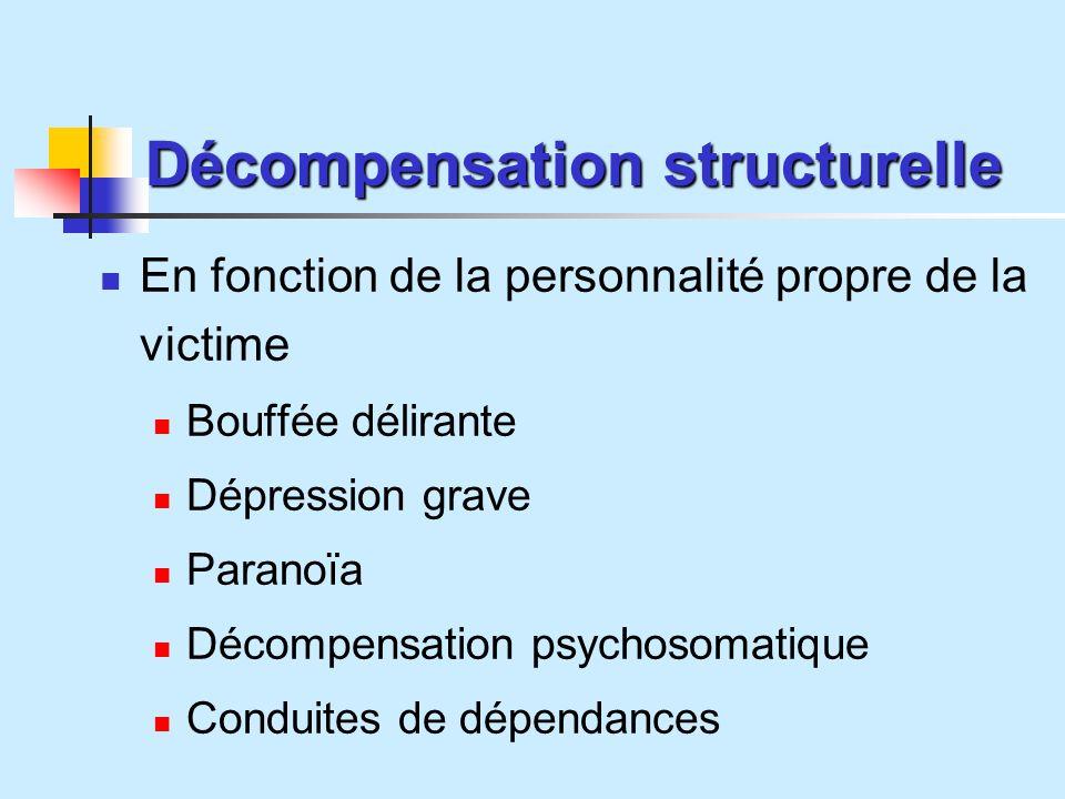 Décompensation structurelle En fonction de la personnalité propre de la victime Bouffée délirante Dépression grave Paranoïa Décompensation psychosomatique Conduites de dépendances