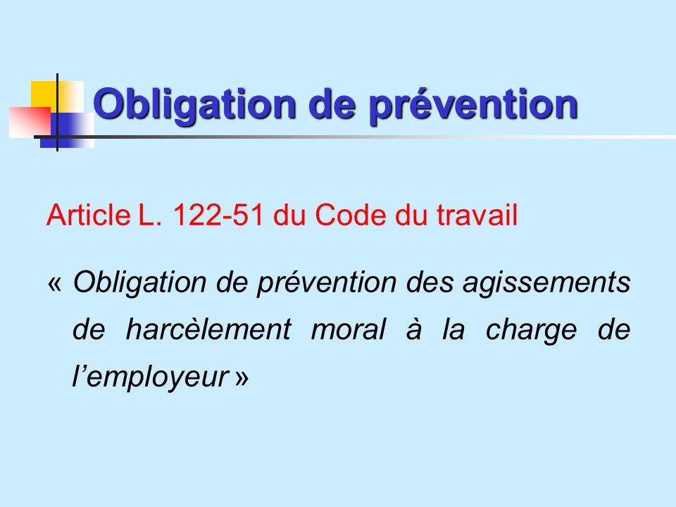 Obligation de prévention Article L.