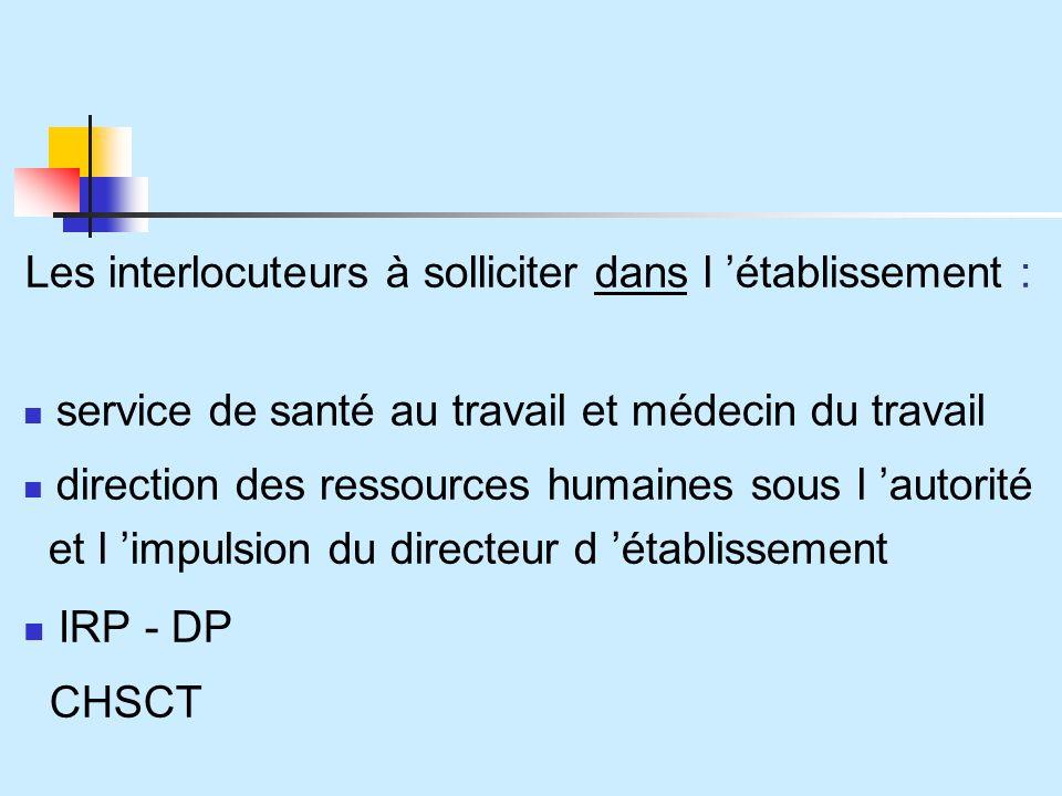 Les interlocuteurs à solliciter dans l établissement : service de santé au travail et médecin du travail direction des ressources humaines sous l autorité et l impulsion du directeur d établissement IRP - DP CHSCT