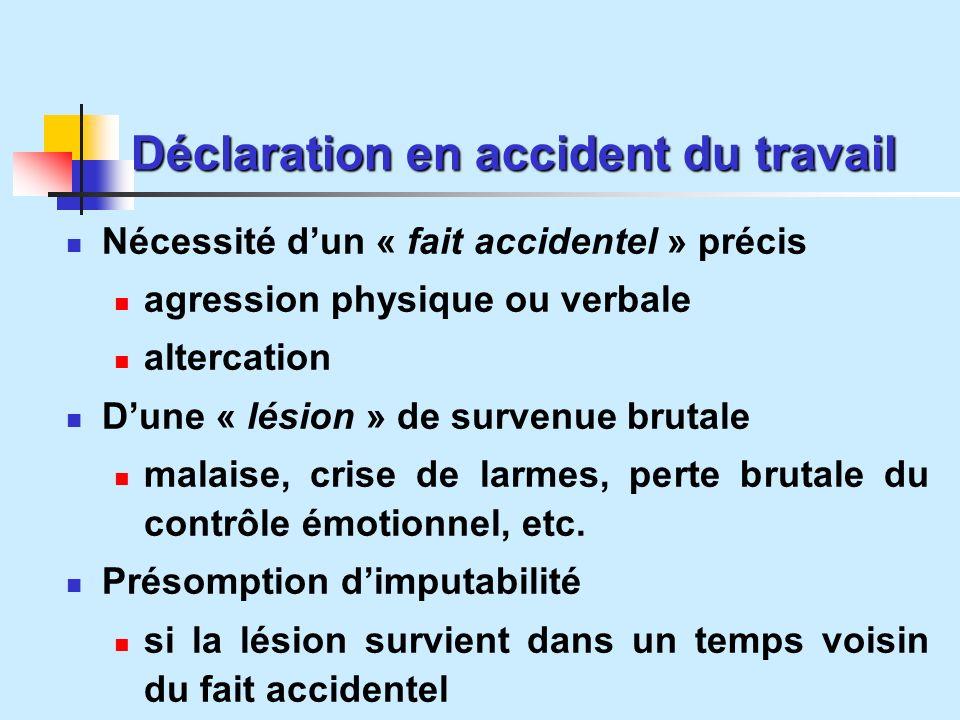 Déclaration en accident du travail Nécessité dun « fait accidentel » précis agression physique ou verbale altercation Dune « lésion » de survenue brutale malaise, crise de larmes, perte brutale du contrôle émotionnel, etc.