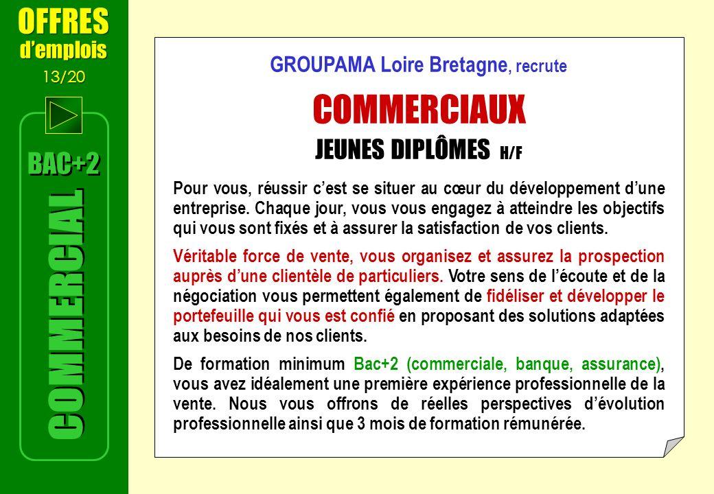 BAC+2 OFFRES demplois 13/20 OFFRES demplois 13/20 GROUPAMA Loire Bretagne, recrute COMMERCIAUX JEUNES DIPLÔMES H/F Pour vous, réussir cest se situer au cœur du développement dune entreprise.