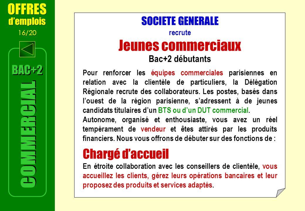 SOCIETE GENERALE recrute Jeunes commerciaux Bac+2 débutants Pour renforcer les équipes commerciales parisiennes en relation avec la clientèle de particuliers, la Délégation Régionale recrute des collaborateurs.