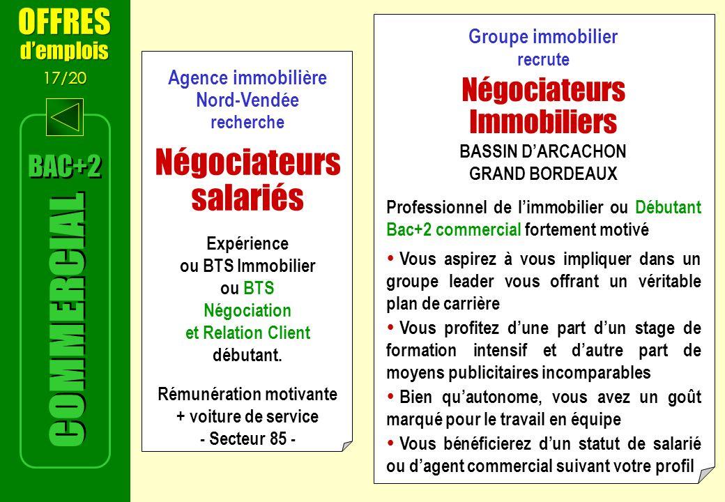 Agence immobilière Nord-Vendée recherche Négociateurs salariés Expérience ou BTS Immobilier ou BTS Négociation et Relation Client débutant.