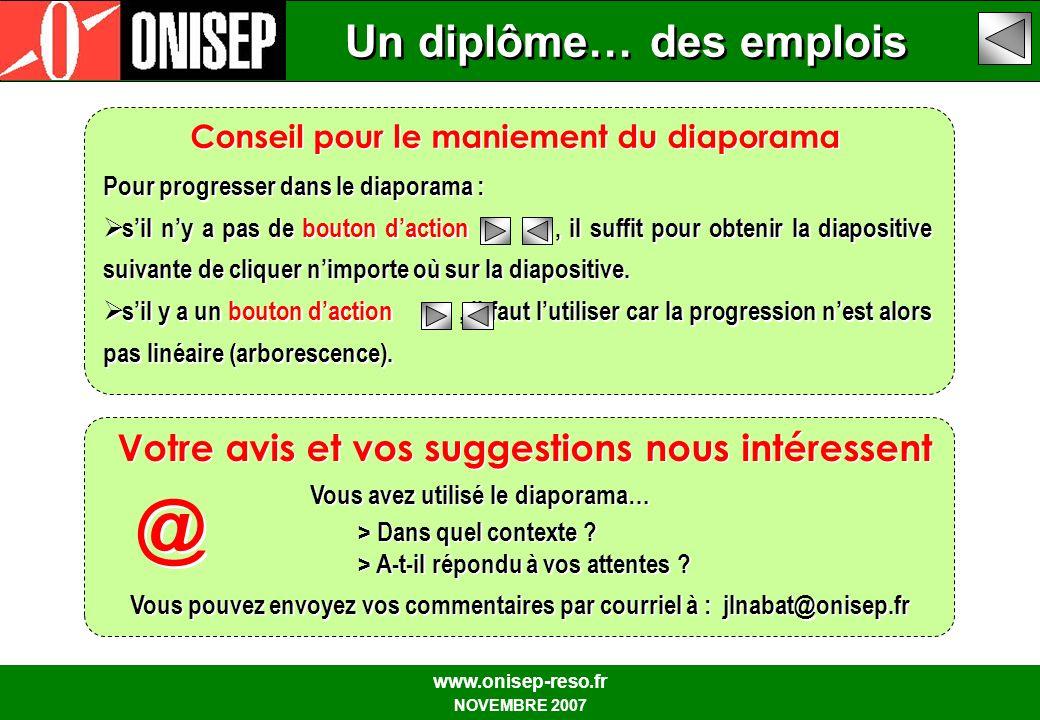 Un diplôme… des emplois www.onisep-reso.fr NOVEMBRE 2007 Pour progresser dans le diaporama : sil ny a pas de bouton daction, il suffit pour obtenir la diapositive suivante de cliquer nimporte où sur la diapositive.