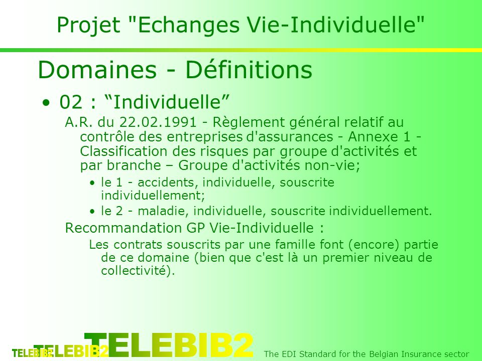 The EDI Standard for the Belgian Insurance sector Projet Echanges Vie-Individuelle 02 : Individuelle A.R.