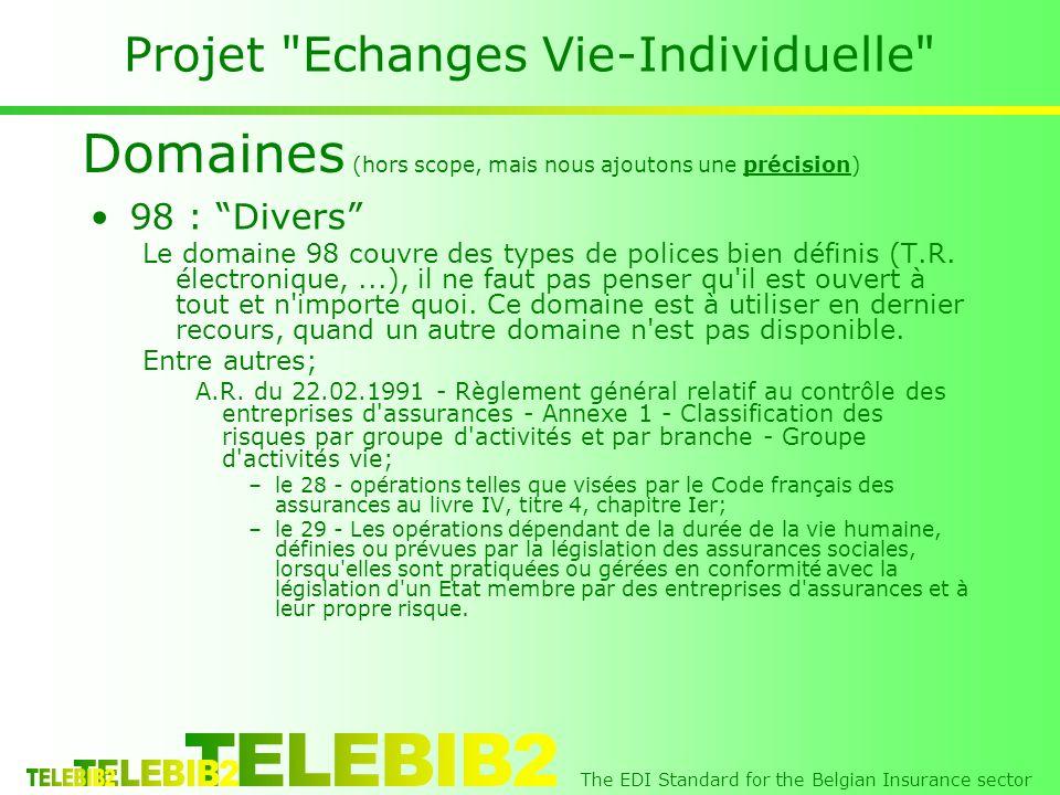 The EDI Standard for the Belgian Insurance sector Projet Echanges Vie-Individuelle 98 : Divers Le domaine 98 couvre des types de polices bien définis (T.R.