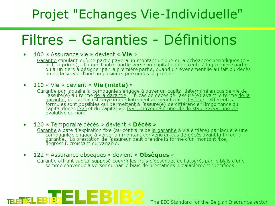 The EDI Standard for the Belgian Insurance sector Projet Echanges Vie-Individuelle 100 « Assurance vie » devient « Vie » Garantie stipulant quune partie payera un montant unique ou à échéances périodiques (c.- à-d.