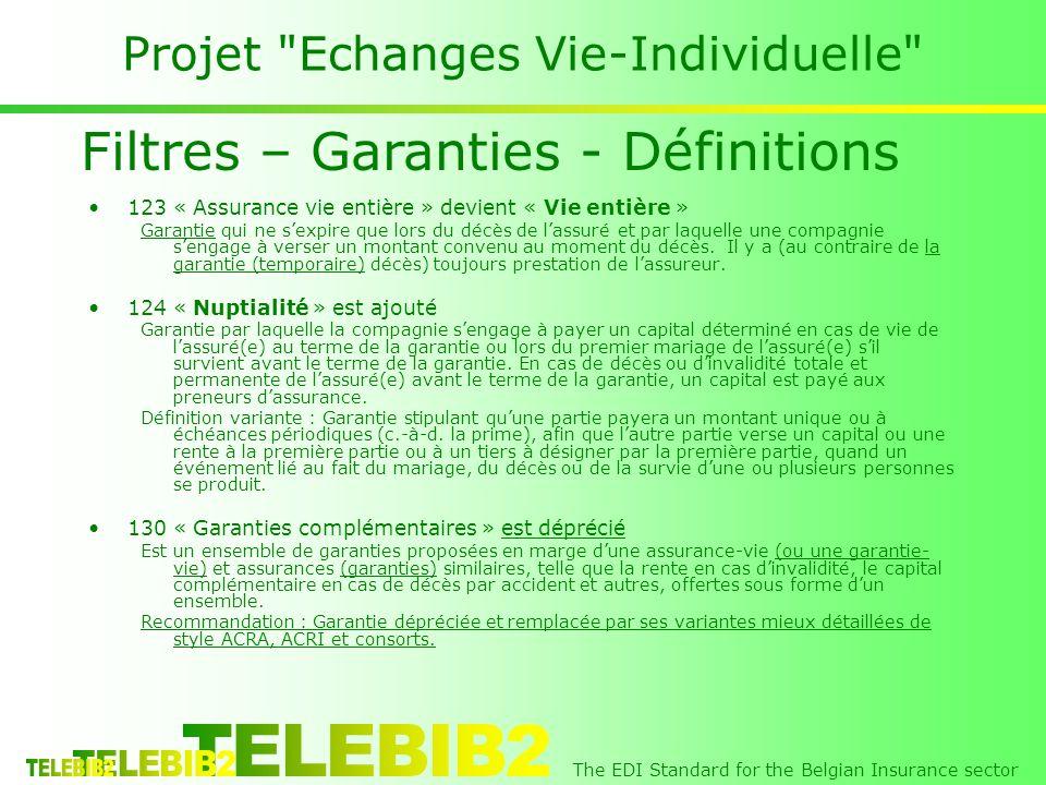 The EDI Standard for the Belgian Insurance sector Projet Echanges Vie-Individuelle 123 « Assurance vie entière » devient « Vie entière » Garantie qui ne sexpire que lors du décès de lassuré et par laquelle une compagnie sengage à verser un montant convenu au moment du décès.