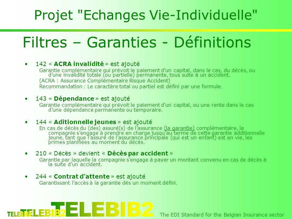 The EDI Standard for the Belgian Insurance sector Projet Echanges Vie-Individuelle 142 « ACRA invalidité » est ajouté Garantie complémentaire qui prévoit le paiement d un capital, dans le cas, du décès, ou dune invalidité totale (ou partielle) permanente, tous suite à un accident.