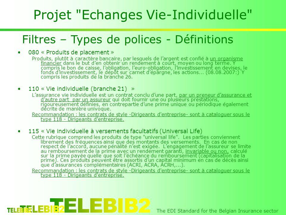 The EDI Standard for the Belgian Insurance sector Projet Echanges Vie-Individuelle 080 « Produits de placement » Produits, plutôt à caractère bancaire, par lesquels de largent est confié à un organisme financier dans le but den obtenir un rendement à court, moyen ou long terme.