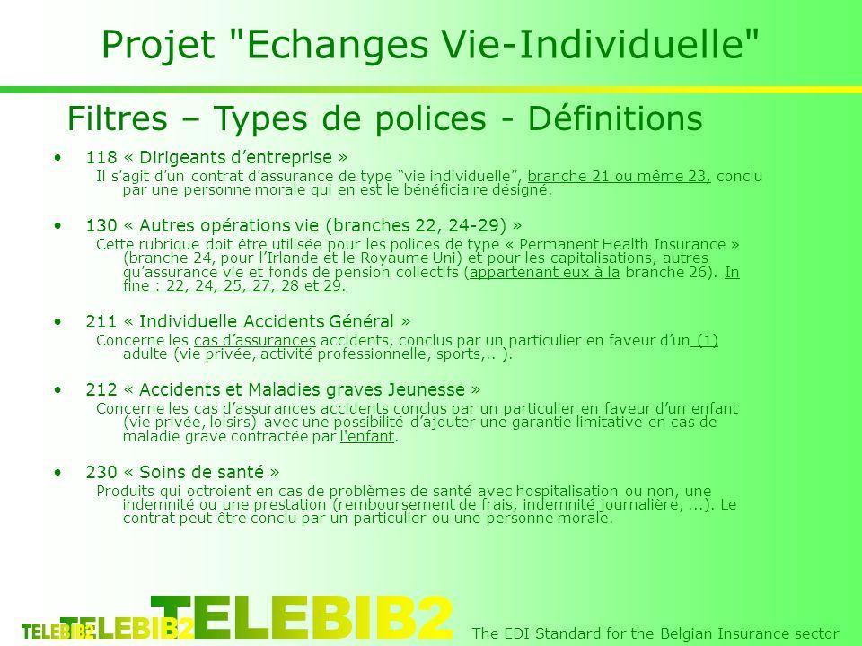 The EDI Standard for the Belgian Insurance sector Projet Echanges Vie-Individuelle 118 « Dirigeants dentreprise » Il sagit dun contrat dassurance de type vie individuelle, branche 21 ou même 23, conclu par une personne morale qui en est le bénéficiaire désigné.