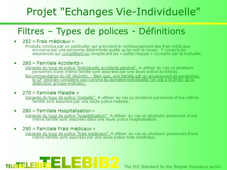 The EDI Standard for the Belgian Insurance sector Projet Echanges Vie-Individuelle 252 « Frais médicaux » Produits conclus par un particulier qui prévoient le remboursement des frais médicaux encourus par une personne déterminée quelle quen soit la cause.