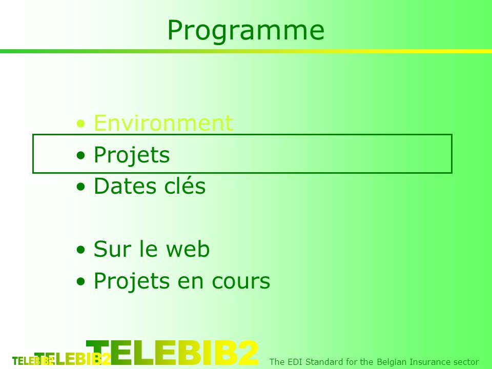 The EDI Standard for the Belgian Insurance sector Programme Environment Projets Dates clés Sur le web Projets en cours