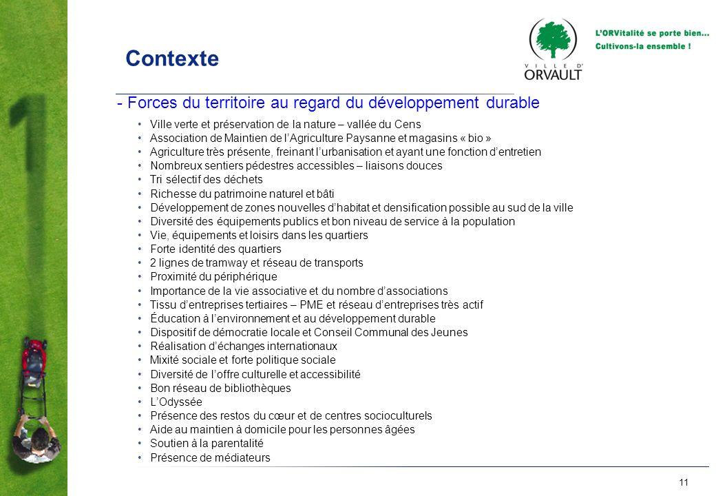 11 Contexte - Forces du territoire au regard du développement durable Ville verte et préservation de la nature – vallée du Cens Association de Maintie
