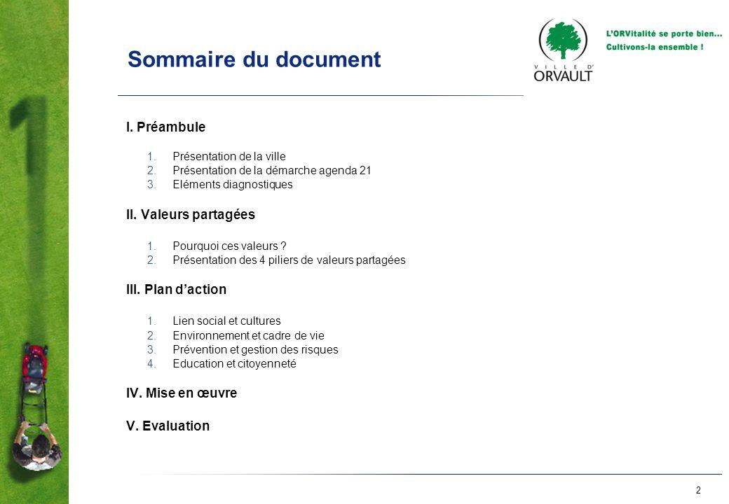 2 Sommaire du document I. Préambule 1.Présentation de la ville 2.Présentation de la démarche agenda 21 3.Eléments diagnostiques II. Valeurs partagées